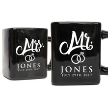 Personalized Mr and Mrs Ceramic Coffee Mugs  - Set of 2