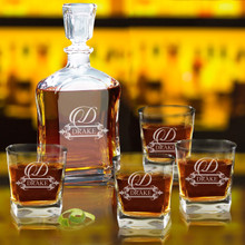 Personalized Glass Whiskey Decanter Set - Fancy Design