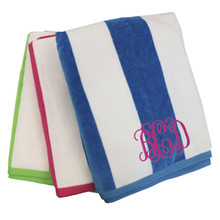 Monogrammed Striped Beach Towel