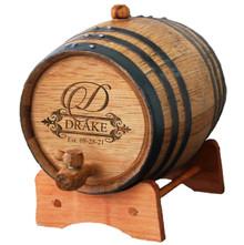 Personalized Whiskey Oak Barrel - Fancy Design