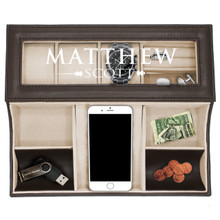 Personalized Mens Leather Valet Tray Box