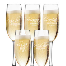 Personalized Bridesmaid Champagne Toasting Flutes