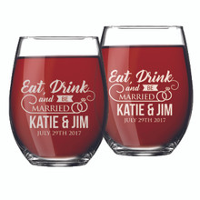 Set of 2 Eat Drink and Be Married Couples Glasses