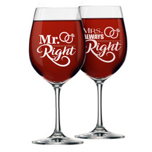 Mr Right Mrs Always Right Coffee Mugs and Wine Glasses - Set of 2