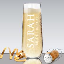Monogrammed Bridesmaid Stemless Champagne Flute Glasses