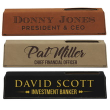 Custom Engraved Desk Name Plate With Business Card Holder