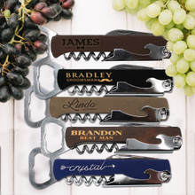 Custom Engraved Groomsmen Bridesmaid Wine Opener Corkscrew