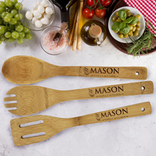 Custom Engraved Personalized Wooden Bamboo 3 Piece Utensil Set
