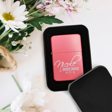 Custom Engraved Personalized Pink Flip Top Lighter