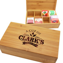 Personalized Custom Engraved Wooden Tea Box Organizer