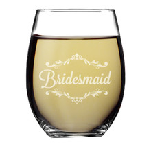 Wedding Party Stemless Wine Glass
