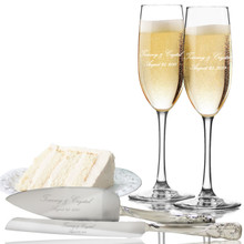 Custom Engraved Toasting Flutes with Cake Server Set