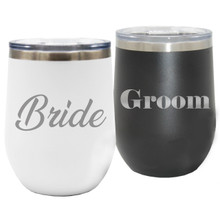 Set of 2 Bride And Groom Insulated Wine Tumblers