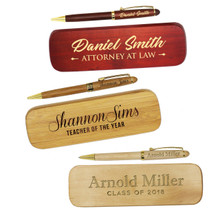 Personalized Wood Pen and Case Set