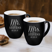 Set of 2 Mr and Mrs Personalized Latte Coffee Mugs