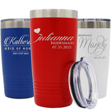 Custom Engraved Bridesmaid Travel Tumbler