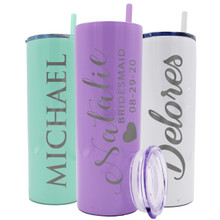Customized Skinny Drinking Tumbler with Straw and Lid