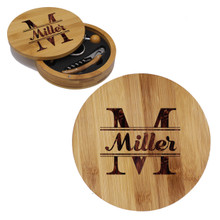 Custom Engraved 4pc Round Wood Wine Tool Set