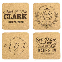 Personalized Wedding Cork Coaster Favors