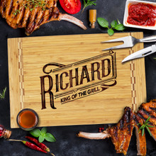 Personalized King Of the Grill Deluxe Cutting Board