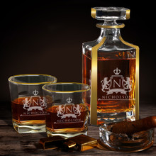 Personalized Custom Whiskey Decanter with Gold Trim Gift Set