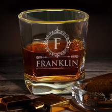 Personalized Gold Rim Square Whiskey Glasses