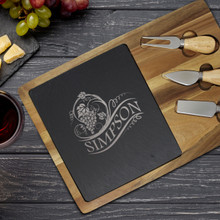 Personalized Acacia and Slate Cheese Board and Knife Set