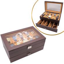 Personalized Watch and Sunglass Organizer Box with Drawer