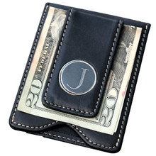 Personalized Black Leather Wallet/Money Clip Combo