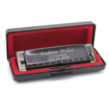 Personalized Black Harmonica