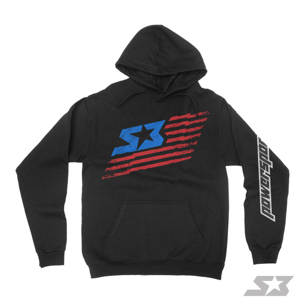 "S3 Power Sports S3 Nation ""Tattered Flag"" Logo Hoodie"