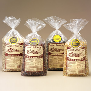 Gourmet popping corn with a colorful twist! Choose traditional white or yellow -- or try the red and blue varieties. Grown and manufactured in Northern Indiana's Amish Country, this popcorn is sure to become a family favorite. All natural, non-GMO (genetically modified organism) popcorn. Available in 2-lb. bags.