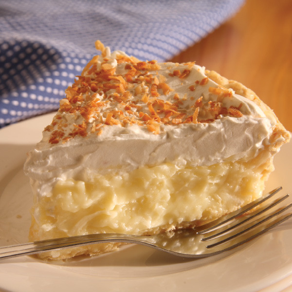 With its luxurious creamy texture liberally blended with shredded coconut, this classic pie might be your next guilty pleasure. We carefully measure and package each ingredient to make your pie just like the ones we serve in our Der Dutchman Restaurants. No baking is required! Assemble in minutes, according to our included instructions. Homemade Amish Pie made in Ohio's Amish Country Contents of the kit: One 9 inch baked pie crust Cooked coconut custard filling Whipped cream