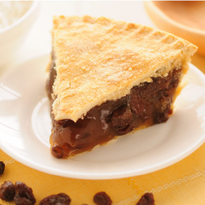 Made with plump dark raisins in a rich filling,  this old-fashioned pie was a staple in the days when fruit preserved by drying. Our double-crusted fruit pies are lightly brushed with butter and sprinkled with sugar to brown the crust. We do not use high-fructose corn syrup to make our fruit pie fillings.   Pies will arrive pre-baked and frozen in an insulated shipping cooler. Simply thaw in the oven and your home will be filled with the sweet scent of our Amish bakery. Baked and shipped from Ohio's Amish Country.