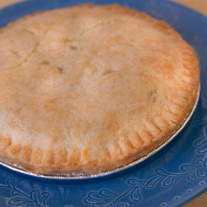Forget the supermarket pot pies – our homemade old-fashioned chicken pot pies on a cold winter evening might be one of the best ideas since sliced bread. Ever popular at our Der Dutchman Restaurant in Walnut Creek, our chicken pot pies are made with a flaky double crust and are filled with plenty of vegetables and Gerbers all-natural white meat chicken in a delicious gravy-style filling. Baked and shipped from Ohio's Amish Country.  Pies will arrive frozen in an insulated shipping cooler. 7 inch diameter pie.  For best results, thaw pot pies completely in your refrigerator before baking.