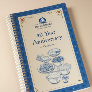 After 40 years in business, Der Dutchman Walnut Creek has been blessed to serve excellent food in the tradition of the Amish culture. This cookbook is a celebration the history of the restaurant and is filled with both restaurant recipes as well as recipes collected from our current staff members. A few restaurant recipes include our popular dishes such as date pudding, marinated carrots, chicken noodle soup, and Amish stuffing. Staff recipes include hot pepper butter, dandelion gravy and soft pretzels.  152 pages. A great stuffer for your Amish Gift Baskets!