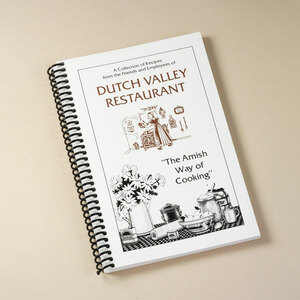 Submitted by the employees of Dutch Valley Restaurant, the recipes in this handy cookbook are some of the best-loved in Ohio Amish country. Seriously, you havenÕt lived till youÕve tried the traditional recipes for Dutch Apple Pie, Amish Scalloped Potatoes, Monkey Bread, and other tasty dishes and desserts.  140 pages. A great stuffer for your Amish Gift Basket!