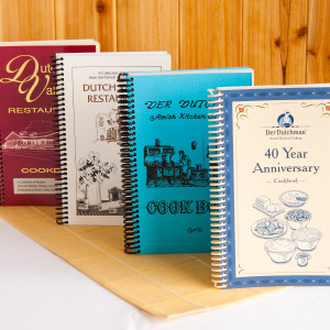 "Buy all four of our currently available Der Dutchman and Dutch Valley Restaurant Cookbooks in a set. Includes selected restaurant recipes and submitted recipes from our employees over the years. You'll find recipes for ""staples"" such as buttermilk cookies, pasta salad, meatloaf, fresh peach pie, homemade ice cream, Amish dressing (stuffing) and beef barley soup, as well as unique recipes such as Mock Turkey, Crow's Nest Pudding, Black Midnight Cake and Lemon Frost Pie, to name a few.      Der Dutchman 40th Anniversary Cookbook     Der Dutchman 1973 Cookbook     Dutch Valley Cookbook, Volume I     Dutch Valley Cookbook, Volume II  A great idea for your Amish Gift Basket!"