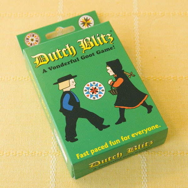 """A family-oriented game, Dutch Blitz is well known in Pennsylvania Dutch and Mennonite circles. The prime object of the game is to build as many cards in sequence - 1 through 10 - in the same respective colors in """"Dutch"""" piles, using as many cards from the """"Blitz"""" pile as possible. The first player to exhaust his """"Blitz"""" pile has """"Blitzed"""" his opponents and ended the hand. For two, three or four players."""