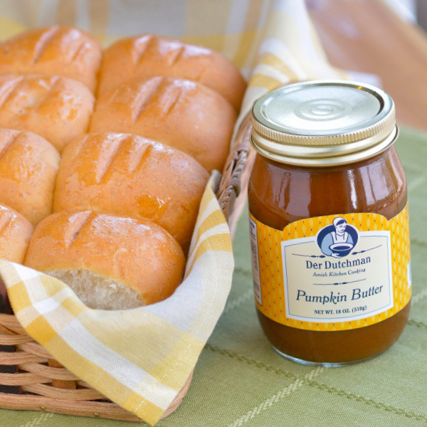 It's not just for fall! Our Der Dutchman Pumpkin Butter has just the right amount of spice and pairs nicely with our freshly-baked dinner rolls.  You'll receive one 18oz Der Dutchman Pumpkin Butter and a dozen Dinner Rolls, with choice of wheat or white.