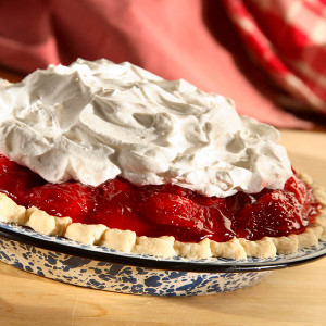 "The Taste of the Summer...all wrapped up in one refreshingly delicious pie. We make our own strawberry glaze and use the very freshest strawberries possible. Whenever possible, we use juiciest fresh-picked local Ohio strawberries for the best flavor. For best taste, we ship the pie to you as a kit for you to assemble.  No baking is required! Kit includes:      One 9"" pre-baked pie shell     Fresh strawberry pie filling     Whipped cream"
