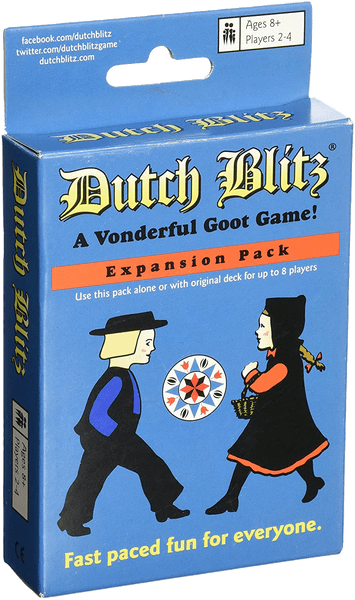 Dutch Blitz expansion pack uses 4 new card colors which will allow up to 8 players when combined with original Dutch Blitz. You can play with this New Blue pack, just like Classic Green, with up to 4 players OR combine the two packs to play with 5, 6, 7 or 8 players.