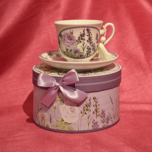 Lavender Tea Cup and Saucer with Gift Box