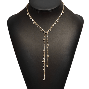 "Gold Necklace 16"" Crystal Drops"