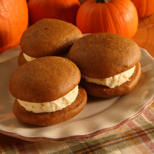 "Few things say fall like a delicious pumpkin whoopie pie! These pumpkin cookie sandwiches are soft moist pumpkin cake ""cookies"" filled with sweet, light and fluffy filling.  Pumpkin whoopie pies are approximately three inches in diameter. Homemade in Ohio's Amish Country."