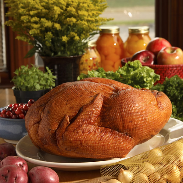 Hickory wood-smoked the old-fashioned way, with hardwood chips and sawdust, for a tender, less salty turkey. Weight is approximately 8 to 12 lbs - about 15 servings
