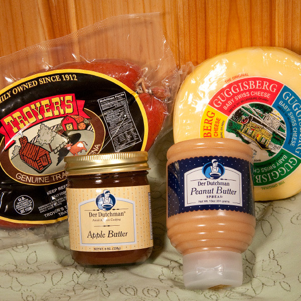 If you live far from Ohio's Amish Country, you can still sample the goodness of the area's best-loved products. Give as a gift or save it for yourself. Included in this package is:  13 oz. Der Dutchman Peanut Butter Spread 1 lb Troyer's Genuine Trail Bologna 9 oz Der Dutchman Apple Butter 2 lb. Guggisberg Baby Swiss