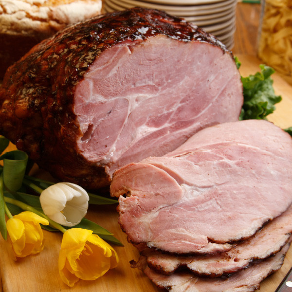 Succulent hickory-smoked flavor with less sodium. Fully cooked, with bone in; shank, skin and fat removed. This is the same ham that is served in our restaurants as our Country Ham dinner. Delicious! Weight of ham: 12 to 15 lbs.  Important! Be sure to place your ham in the refrigerator or freezer as soon as you receive it.  Preparation tips Prepare hams according to labeling or bake in a pre-heated 325 degree oven. We recommend placing the whole ham in a covered roasting pan with one inch of water for 3 to 3 1/2 hours. For smaller portions, the general rule of thumb is baking 18 to 20 minutes per lb of ham. Use a meat thermometer to check the ham - an internal temperature of 160 to 170 degrees is recommended.