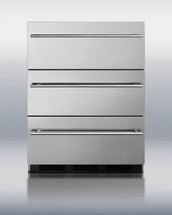 Summit SP6DSSTBOSTHIN 5.4 Cu. Ft Stainless Steel Outdoor Triple Drawer Refrigerator With Pro Thin 14mm Handles
