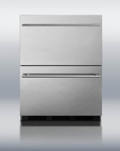 Summit SP6DS2DOS Stainless Steel Outdoor Double Drawer Refrigerator With Pro Thin 14mm Handles